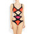 Orange Pink Colorblock Triangle One-piece Bandage Swimsuit | Emprada