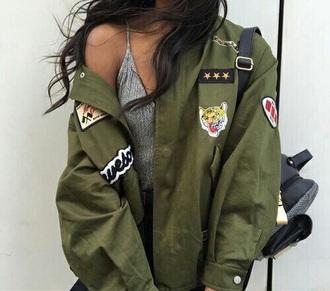 jacket army green green coat love