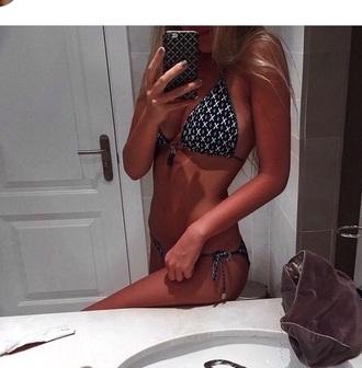 swimwear black with withe pattern and tassles bikini bikini triangle bikini black bikini triangle bikini'