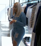 jumpsuit,gold watch,jeans,denim,cute,pretty,sneakers,denim jacket,blue,blonde hair,glasses