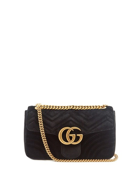 gucci cross mini quilted bag velvet black