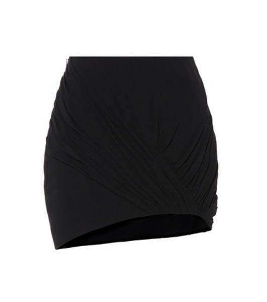 Saint Laurent Wool and silk asymmetric miniskirt in black