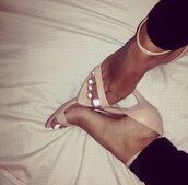 shoes,biege color,high heels,sandals,open toes,platform shoes,pink,white dress,beige,black,heels,beige high heels,strappy heels,strappy,plant pants,black pants,white,white nails,nails,nail poilish,peep toe,peep toe heels