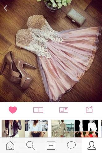 dress pink glitter prom dressy classy nude