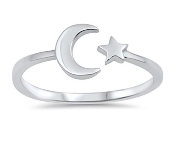 jewels ring silver stars moon adjustable boho chic gypsy