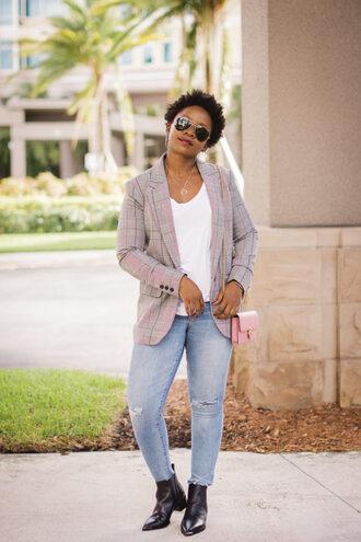 pinksole blogger jewels jacket t-shirt jeans shoes bag blazer ankle boots fall outfits shoulder bag