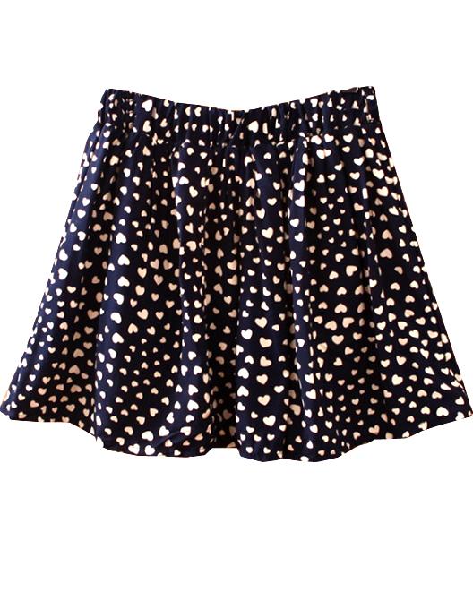 Navy Belt Hearts Print Cotton Skirt - Sheinside.com