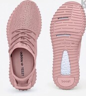 shoes,yeezy,yeezy 350 boost,pink sneakers,low top sneakers,adidas