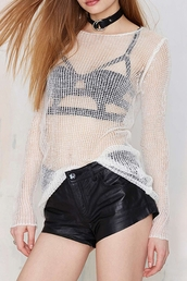 top,knitwear,sweater knitwear,black,leather,leather shorts,faux leather,white,white knitwear,grunge,sexy,casual,hippie,alternative,alternative rock,mesh,see through,strappy,zaful,sweater,fashion,long sleeves