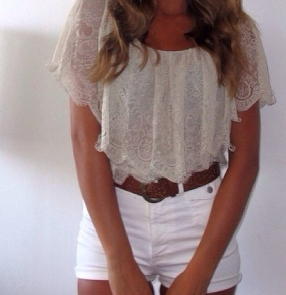 shirt cream top lace