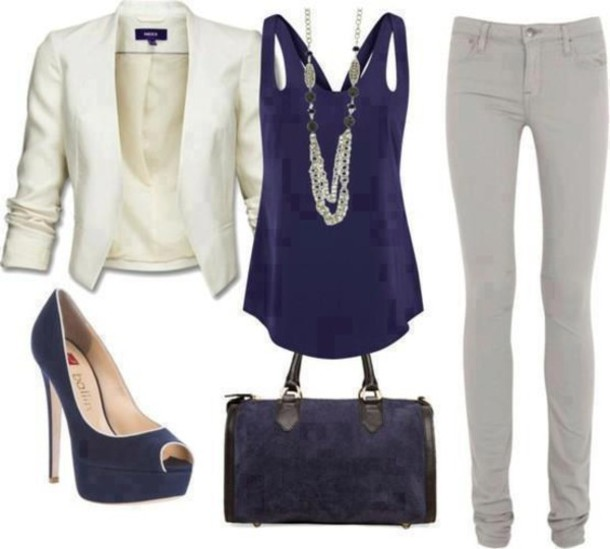 blouse jacket look social white jacket white jeans coat shoes bag blue shirt top blazer black blazer classic business casual