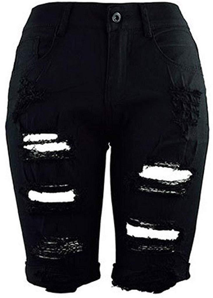 Creazrise Women's High Waist Distressed Stretch Shorts Jeans Bermuda Hot Shorts at Amazon Women's Clothing store