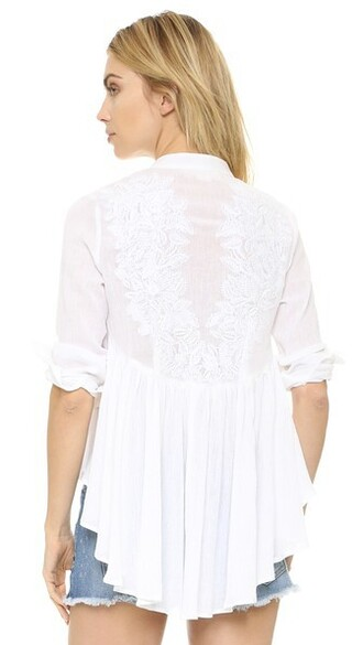 blouse back embroidered white top