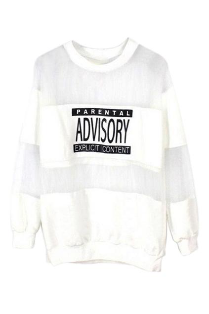 ROMWE | ROMWE Letters Print Mesh Panel White Sweatshirt, The Latest Street Fashion