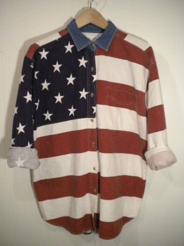 shirt american flag denim collar red white blue denim oversized jeans shirt