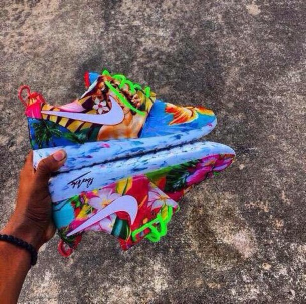 100% authentic a1fe2 7389e shoes nike nike running shoes tropical nike roshe run shorts earphones  multicolor low top sneakers floral