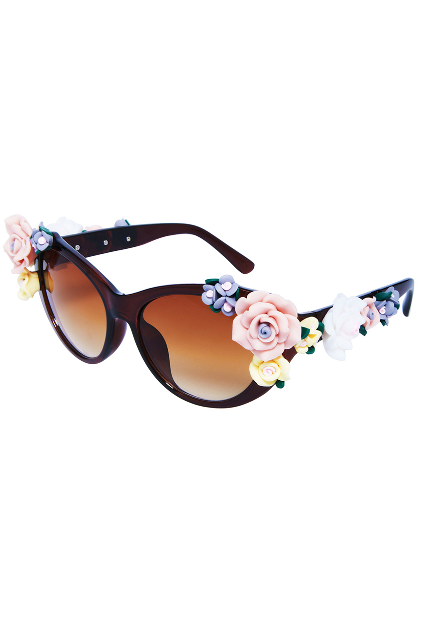 ROMWE | ROMWE Various Roses Embellished Brown Sunglasses, The Latest Street Fashion