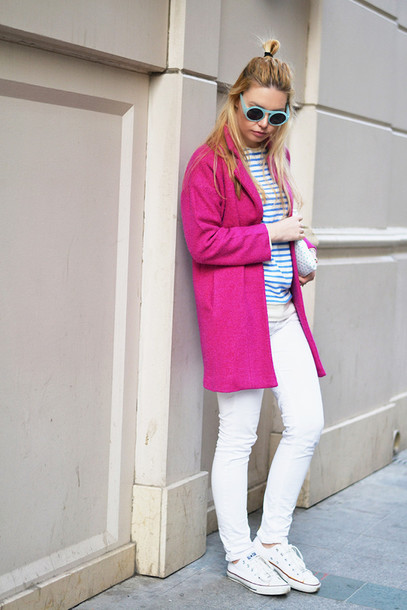 ag on i ya blogger pink coat white jeans striped top coat sunglasses sweater jeans bag shoes