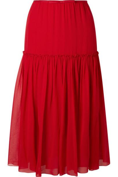 GIAMBATTISTA VALLI skirt midi skirt chiffon midi silk red