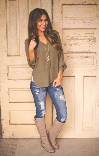 blouse jeans greenpeace bloques boots top olive green woven top fall outfits denim jean holed jeans faded jeans navy green rouge army green green ripped jeans style white shirt brown leather boots tan dressy tops flattering t-shirt dark olive green shoes