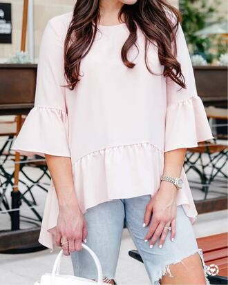 top tumblr pink top bell sleeves watch ring jewels jewelry accessories