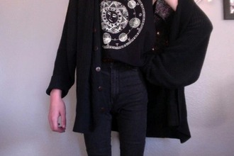 top winter outfits moon cute black grunge style autum cardigan