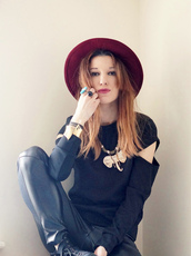 laughing in the purple rain,blogger,hat,cut-out,leather pants,elephant,sweater,jewels,pants,shoes