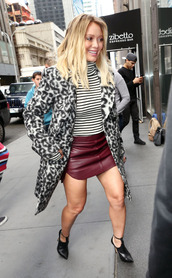 coat,skirt,fall outfits,hilary duff,animal print,striped sweater,sweater,top,shoes