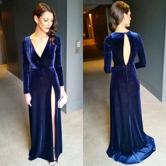 dress anthea pellow navy prom prom dress long sleeves velvet velvet dress open back navy dress 2016 dresses red carpet dress plunge v neck