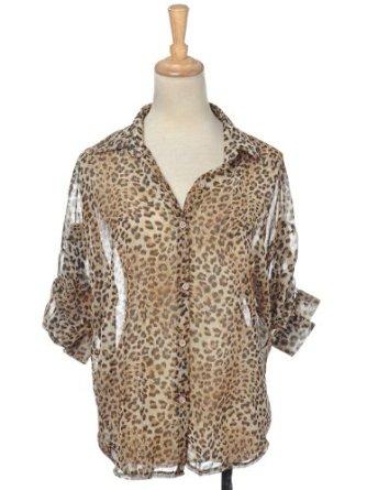 Kaci s/m fit sheer brown leopard cheetah print pattern dress shirt blouse at amazon women's clothing store: animal print blouse