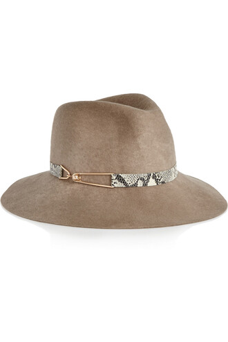 fedora leather wool light brown hat