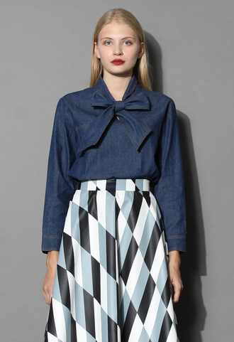 top bow denim blouse in navy chicwish navy blouse denim