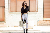 kris chérie,blogger,bag,sunglasses,shoes,black top,asymmetrical,white jeans,ripped jeans,white bag,choker necklace,black boots,crop tops,black crop top,jewels,jewelry,necklace,black choker,black,style,trendy,asymmetric shirt,asymmetrical top