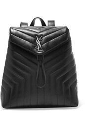 quilted,backpack,leather backpack,leather,black,bag