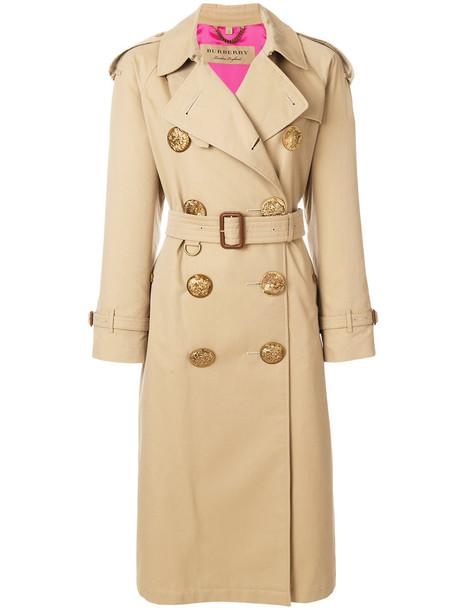 Burberry - oversized button trench coat - women - Silk/Cotton/Viscose - 6, Nude/Neutrals, Silk/Cotton/Viscose