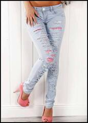 jeans,pink,high heels,pink high heels,shoes,light blue,pants,skinny pants,skinny jeans