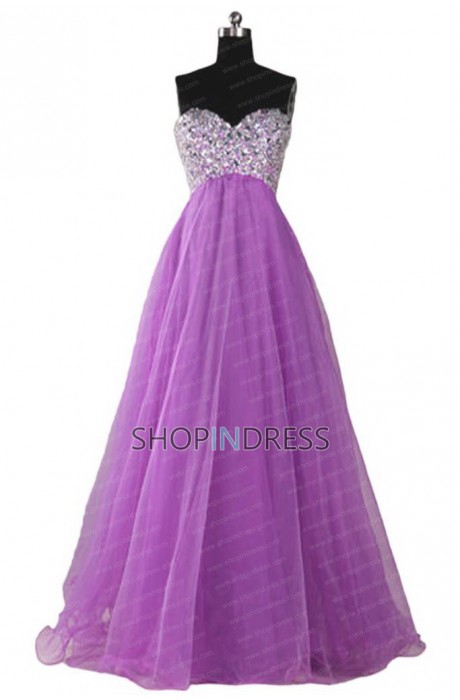 Line sweetheart floor length organza purple prom dress with appliques npd2028 sale at shopindress.com
