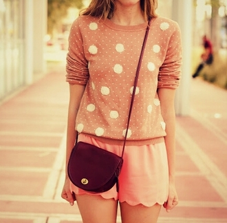 sweater pullover polka dots beige pink blonde hair bag shorts cute weheartit vintage girly