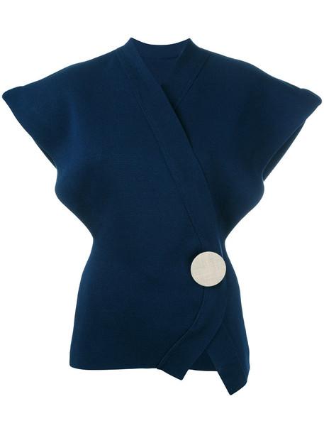blouse oversized women cotton blue top