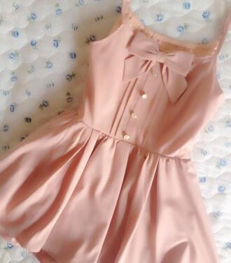 dress romper bows pink blush cute cute dress pink dress