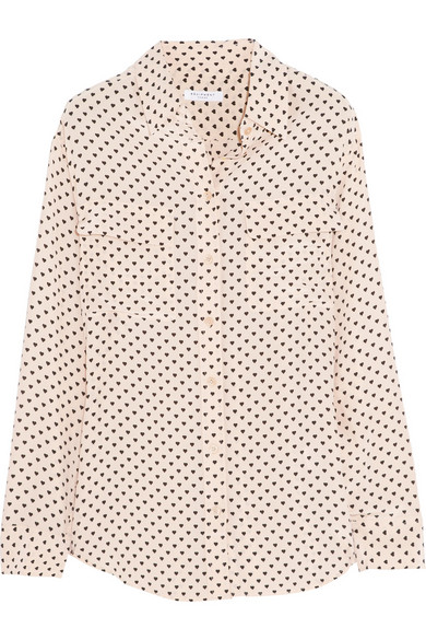 Equipment | Signature heart-print washed-silk shirt | NET-A-PORTER.COM
