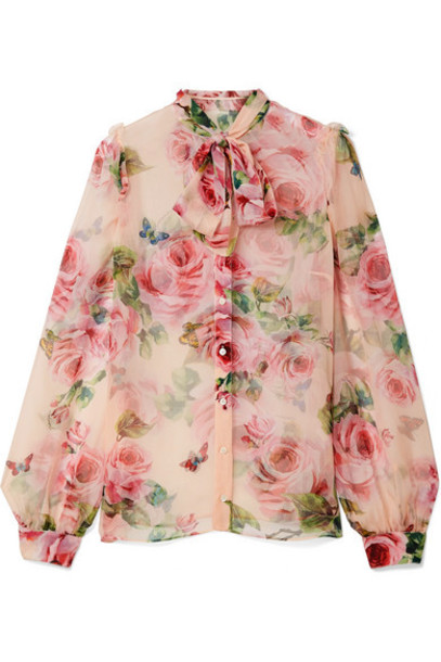d9fc76c0c69842 Dolce   Gabbana Dolce   Gabbana - Pussy-bow Floral-print Silk-chiffon Blouse  - Pastel pink