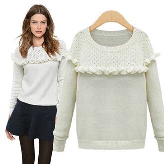 sweater white hollow out