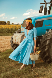 the mysterious girl,blogger,dress,scarf,bag,summer outfits,blue dress,basket bag