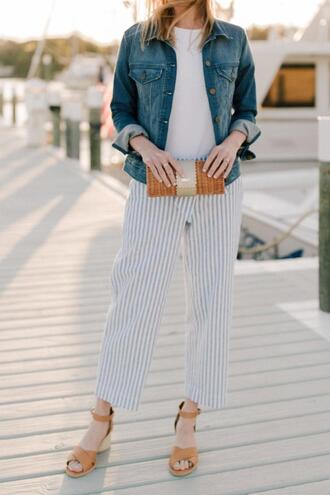 kelly in the city - a preppy chicago life style and fashion blog blogger pants t-shirt jacket shoes bag denim jacket sandals striped pants clutch