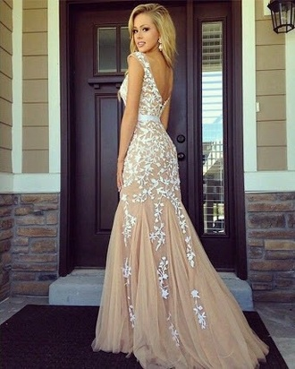 dress white nude lace formal dress