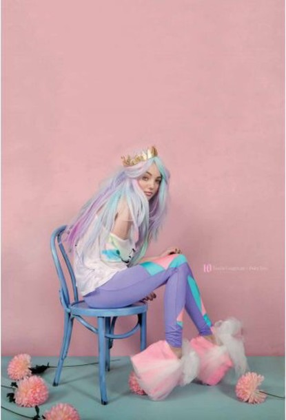 leggings kawaii pastel pastel hair