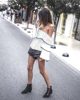top tumblr white top off the shoulder off the shoulder top bell sleeves ruffle shorts denim denim shorts boots ankle boots