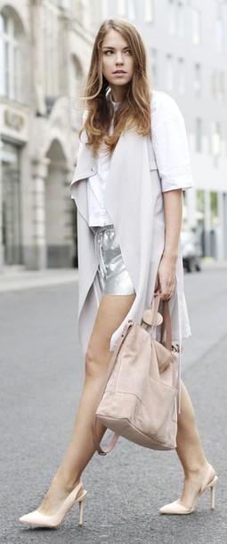 shorts silver shorts slingbacks grey vest pumps pointed toe pumps shirt white shirt vest long vest bag spring outfits