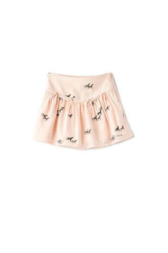 skirt fringe skirt horse print peach